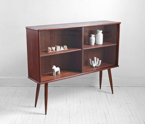 Mid century teak bookshelf cabinet wall unit credenza - Modern bookshelf wall unit ...