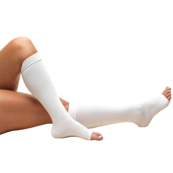 Knee High, Open Toe Surgical Stockings, 18 mmHg, White (Truform 808)
