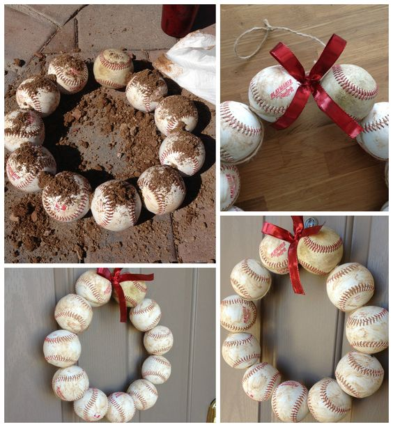 Baseball wreath easy diy craft baseball season d cor for Very simple wire craft projects