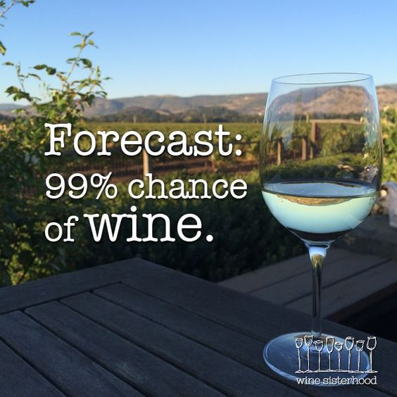 Let's be safe and just say 100% chance of #wine. Sound good? Happy #WineWednesday!