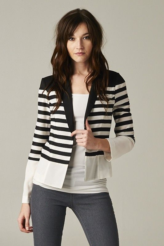 Esley, Open Front Striped Fitted Blazer
