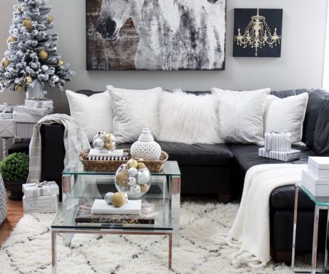 20 Gorgeous Christmas Table Decor Ideas Black And Silver Living Room Leather Couches Living Room Silver Living Room