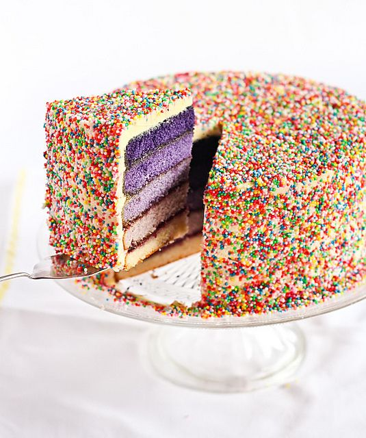 Purple Ombré Sprinkles Cake by raspberri cupcakes.  I want to make this for my Birthday!