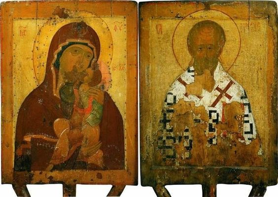 Two-sided icon of Our Lady of Tenderness and St. Nicholas, the Wonderworker (late 15th century)
