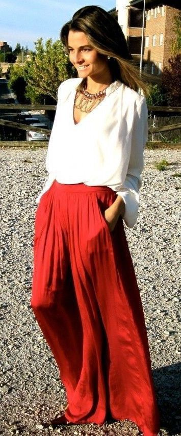 Pleated Maxi Full Skirt in Red | lè wardrobe siorée | Pinterest ...