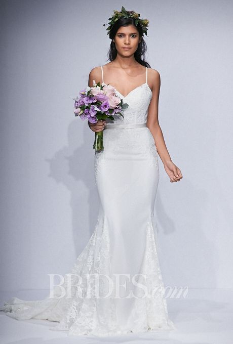 "DID by Watters - Spring 2014. Style 52233, ""Katy"" slim A-line wedding dress, lace godet skirt with a lace scallop hem, V-neck, spaghetti strap and lace corset bodice, Watters"