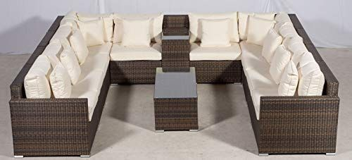 Set Giardino In Rattan.Giardino Havana 10 Seater Brown U Shaped Rattan Sofa Set Ice