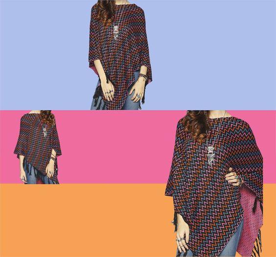 A new spin to #Ponchos!   Shop online: http://bit.ly/PElectraPoncho  #globaldesi #EndOfSeasonSale #knits #comfy #fashion #poncho #bohemian #freespirit #colours #tassels #love #shopping #sale #shopaholics
