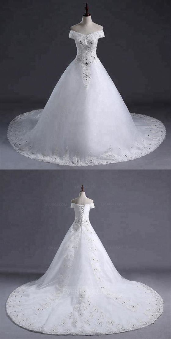 White Off Shoulder Sleeveless Lace Beaded Wedding Dresses With