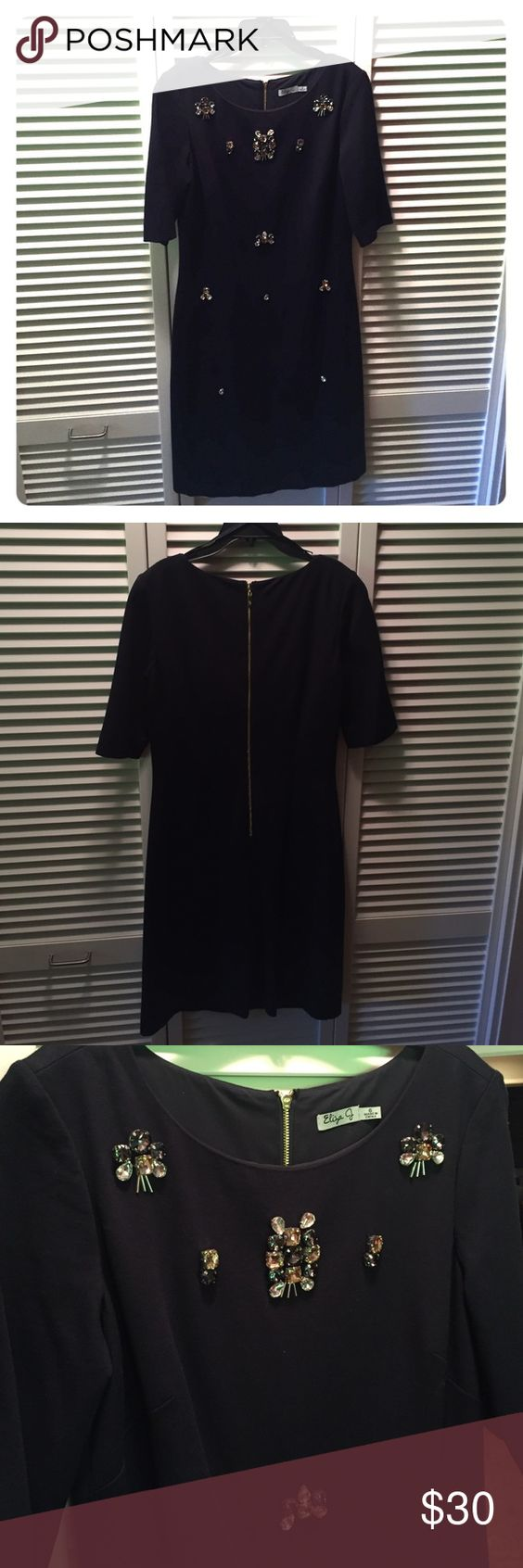 New w/o tags Eliza J beaded sheath dress New without tags navy blue size 6 Eliza j sheath dress beautiful beading at the neckline and down the front of the dress. Rich navy blue, gold zipper down the back of the dress. Fully lined. Eliza J Dresses Midi