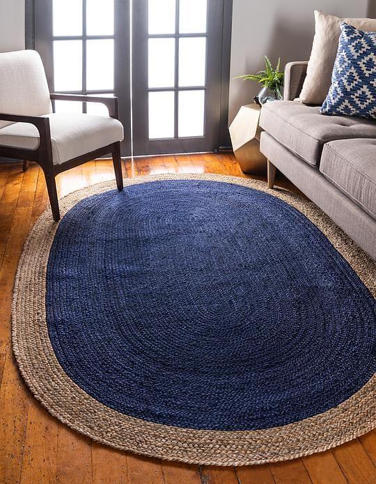 Navy Blue Braided Jute Area Rug With Images Jute Floor Rugs Natural Jute Rug Rugs On Carpet