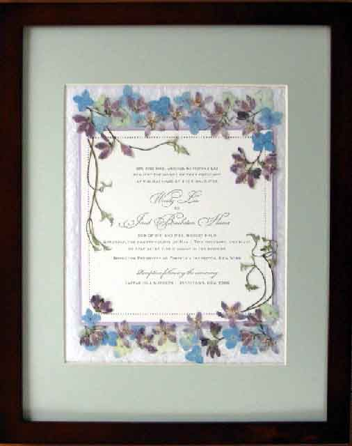 Pressed flower art invitations and wedding on pinterest for Wedding invitations with real flowers