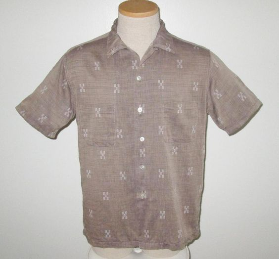 Vintage 1950s Tan Shirt With White Design By McGregor - Size ML by SayItWithVintage on Etsy