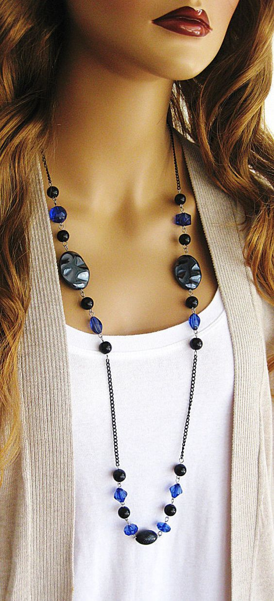 Long Black Beaded Necklace Long Blue Beaded Necklace