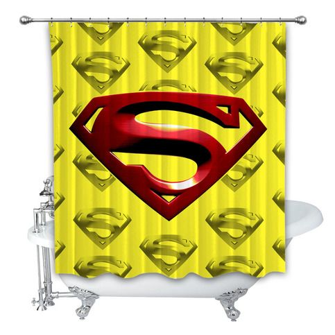 New Best Superman Yellow Red Logo 3d Custom Shower Curtain 100
