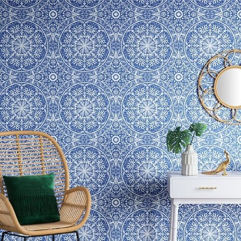 Cadiz Medallion Peel Stick Wallpaper Capri Blue Opalhouse Removable Wallpaper Wallpaper Accent Wall Opalhouse