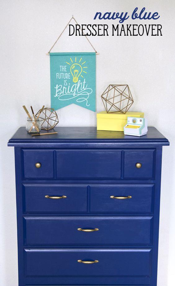 Navy blue dresser blue dresser and dresser makeovers on for Furniture yard sale near me