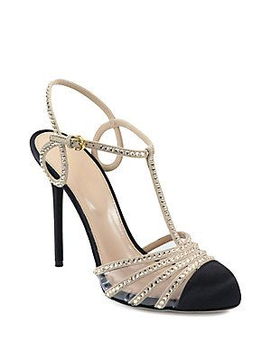 Crystal-Coated Suede T-Strap Pumps