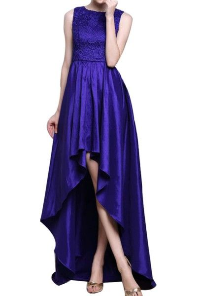 $185.00 The perfect gown for your truly elegant and contemporary wedding. A high-low hem gives this dress a figure flattering length - any way you look at it.Round neck. Sleeveless.Bustier seams. Embroidered top.Cascading high-low hem. Pleated skirt.Concealed center back zipper with hook-and-eye closure.Charmeuse: Polyester.Dry Clean.Imported.