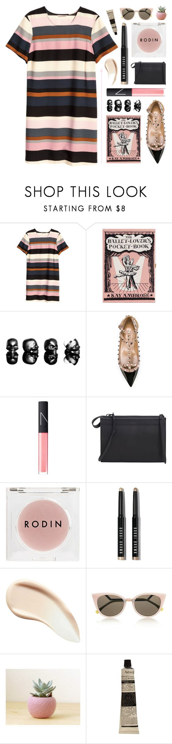 """""""Lines + Lies"""" by starit ❤ liked on Polyvore featuring H&M, Olympia Le-Tan, Valentino, NARS Cosmetics, 3.1 Phillip Lim, Rodin Olio Lusso, Bobbi Brown Cosmetics, Burberry, Fendi and Aesop"""