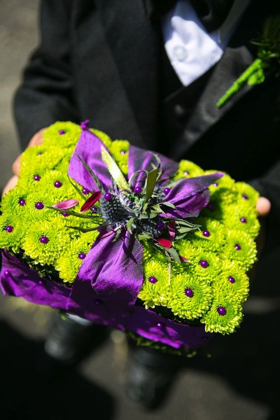 purple and lime | Beautiful Blooms Purple and Lime Green Ring Bearer Pillow