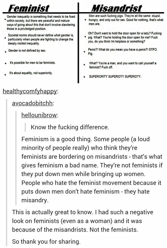 """This is why so many people are scared of """"feminism."""" Not because they hate women but because they fear man haters. Some self proclaimed feminists really do hate men, and that's not the original definition of feminism."""