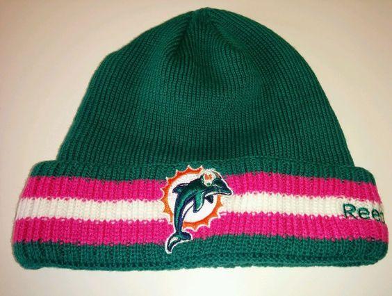 Miami Dolphins Football Reebok NFL Pink Breast Cancer Beanie Skull ...