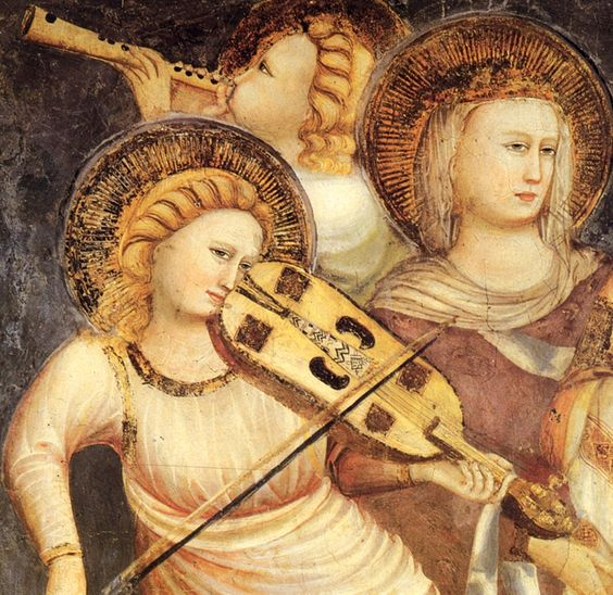 Basilica di San Nicola, Chapel of St. Nicholas, Musical Angels (detail), completed between 1335 and 1345,  frescoes painted by artists from Rimini (Pietro, Giuliano and Giovanni Baronzio) of the Giotto school, are the highest examples of 14th century painting in the Marche region.