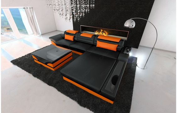 #Design #Ledersofa PARMA #LED L Form - Exklusiv bei #Sofa Dreams!