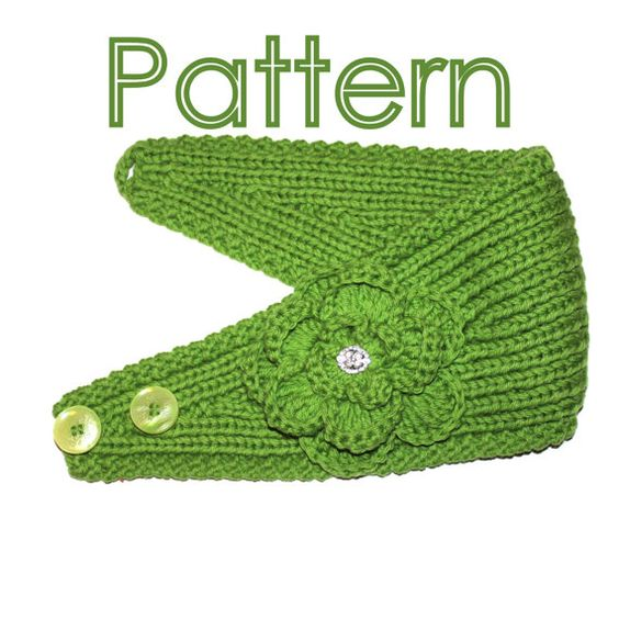 KNITTING PATTERN - Headband with Crochet Or Knitted Flower Knitted flowers,...