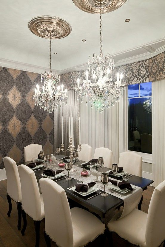Double crystal chandeliers cool lightning pinterest for Formal dining room chandelier
