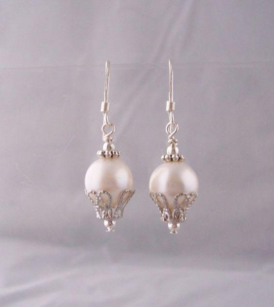 June Birthstone Pearl Jewelry, June BirthstoneFreshwater Pearl Earrings, Large Freshwater Pearl and Silver Earrings
