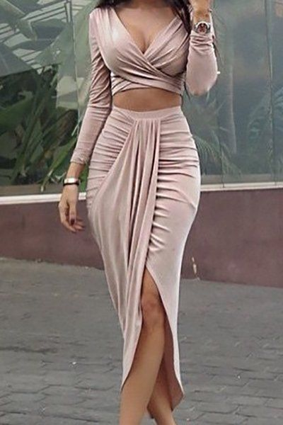 Sexy V Neck Long Sleeves Asymmetrical Pink Cotton Blend Two-piece Skirt Set