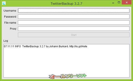 TwitterBackup 3.2.7   TwitterBackup--起動時の画面--オールフリーソフト
