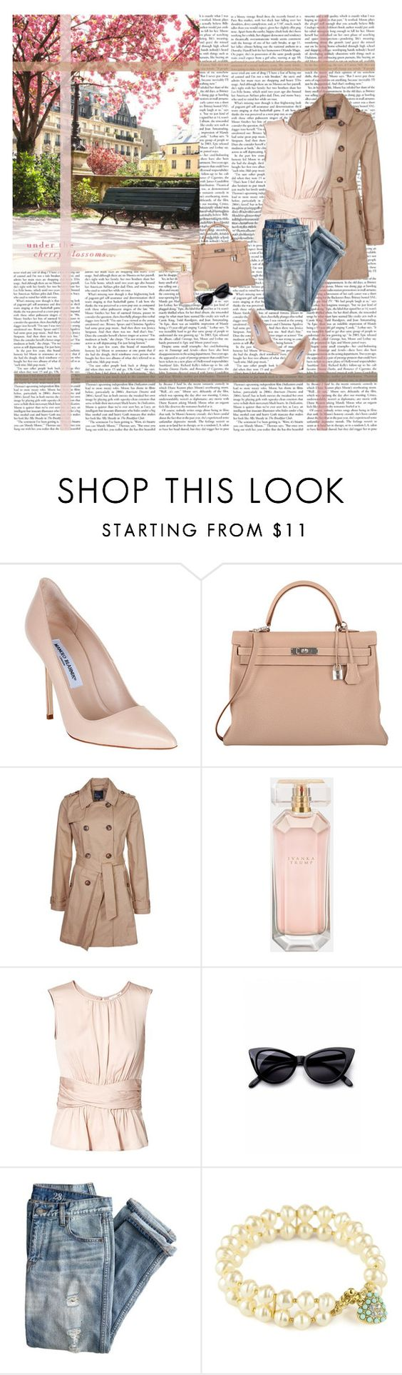 """Ivanka in Spring"" by class-in-the-corner-office ❤ liked on Polyvore featuring Manolo Blahnik, Hermès, even&odd, Ivanka Trump, Paule Ka, Retrò and J.Crew"