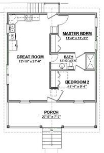Custom Small House Home Building Plans 2 Bed Narrow 784sf Pdf File Ebay Cottage Floor Plans Building Plans House House Floor Plans