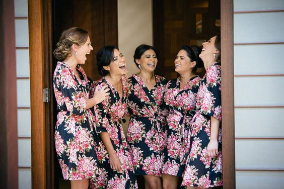 122 black Floral robe CUSTOM Bridesmaids maid of by ComfyClothing