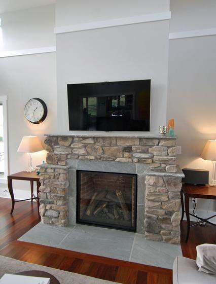 Contemporary Farmhouse Family Room Stone Fireplace
