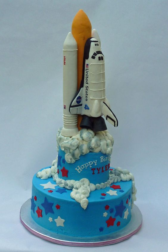 Space Shuttle cake. But one layer and green or red