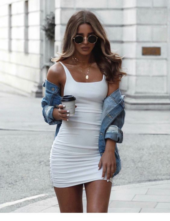 short tight dress with jean jacket