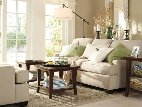 Pottery barn room decorating ideas benjamin moore paint for Green and beige living room ideas