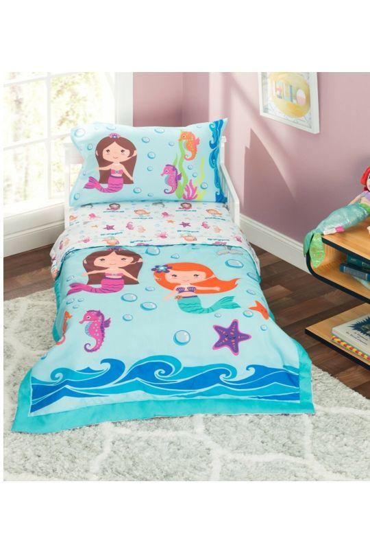 Mermaid Toddler Bedding Set In 2020 Mermaid Toddler Bedding Toddler Bed Set Toddler Bed Girl