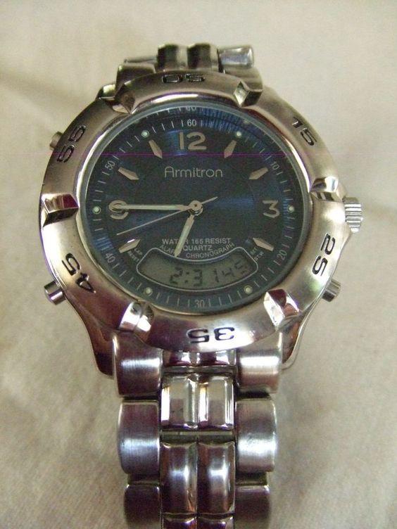 Digital Indicator With Rotatable Bezel : Armitron chronograph analog digital alarm quartz watch