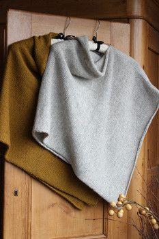 Easy Folded knitted Poncho Project - Isager Version. 3 ways to wear.Rechteck zuschneiden und auf einer Seite bis zur Halsöffnung zunähen