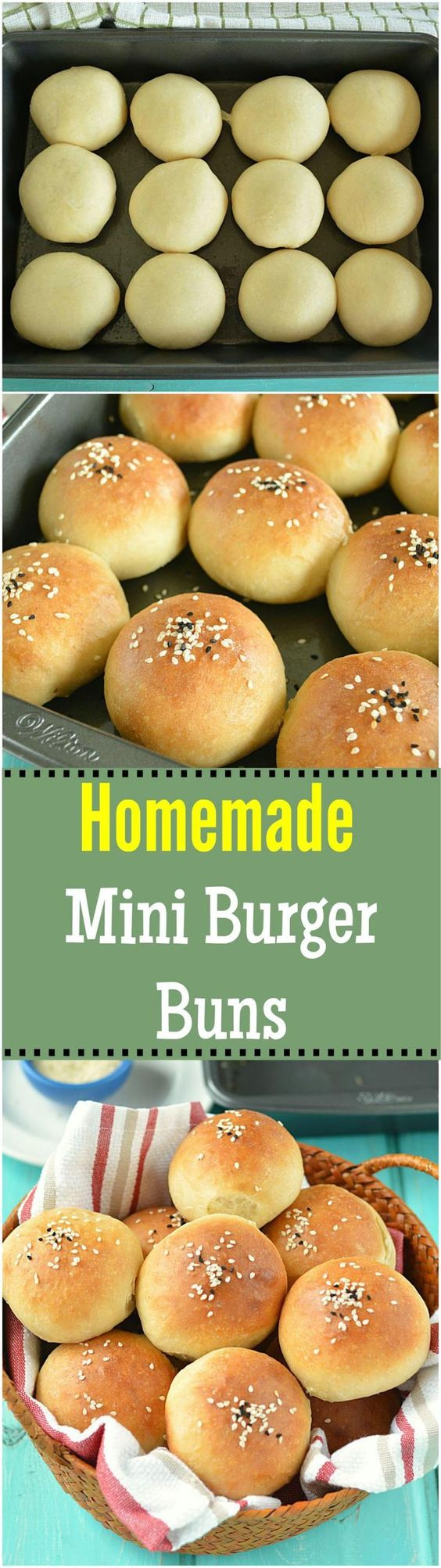 Deliciously soft and fluffy homemade mini burger buns topped with sesame seeds…