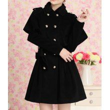 Elegant Flat Collar Double-Breasted Long Sleeve Black Coat and Cape Twinset For Women
