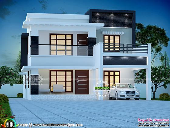 4 Bedroom Modern Double Storied House Plan 2500 Sq Ft Kerala House Design Duplex House Design Modern House Plans