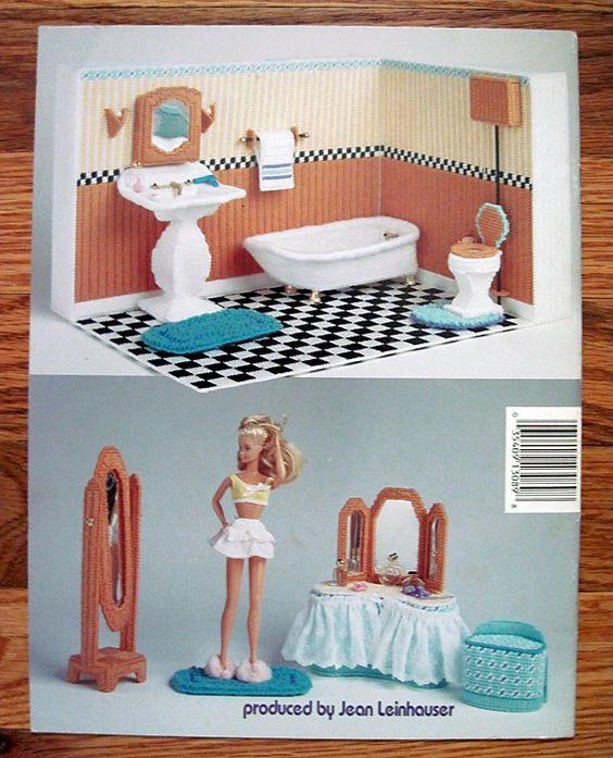 Fashion Doll Bathroom In Plastic Canvas For Barbie American School Of Needlework 3089 Barbie