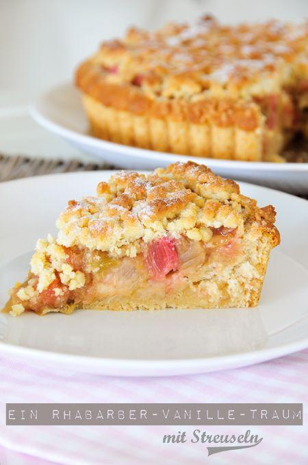 Rhabarberkuchen mit Streuseln vegan (milchfrei, eifrei) & fructosearm