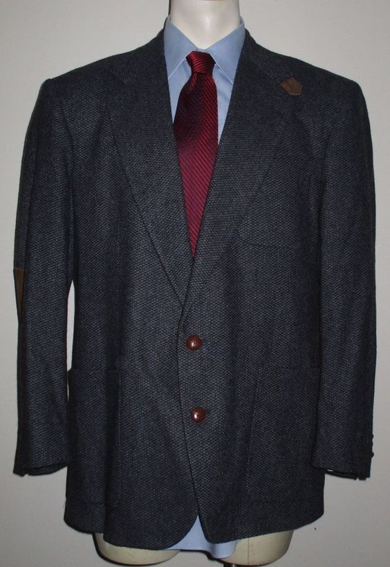Men's Stewart County Gray Sport Coat 43R 100% Wool Leather Elbows Heavy Weight #StewartCounty #TwoButton